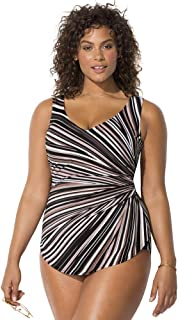 Swimsuits For All Women's Plus Size Sarong Front One Piece Swimsuit