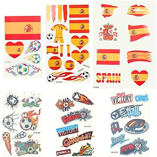 LOLIAS 6 Hojas Tatuajes Temporales a Prueba Agua Pequeño Tatuaje Falso de la Bandera Nacional para Mujeres Hombres Pegatinas Agua Tatuajes Temporales de Fútbol