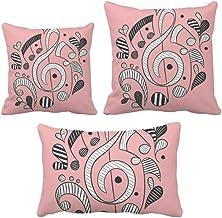 DIYthinker Conjunto de almofadas com listras horizontais, notas musicais, rosa