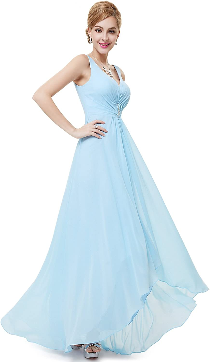 EverPretty Double VNeck Rhinestones Ruched Bust HiLo Evening Party Dress 09983