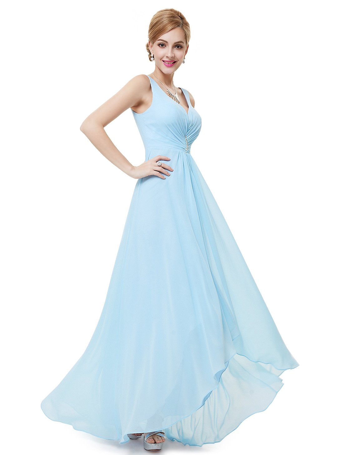 Available at Amazon: Ever-Pretty Double V-Neck Rhinestones Ruched Bust Hi-Lo Evening Party Dress 09983