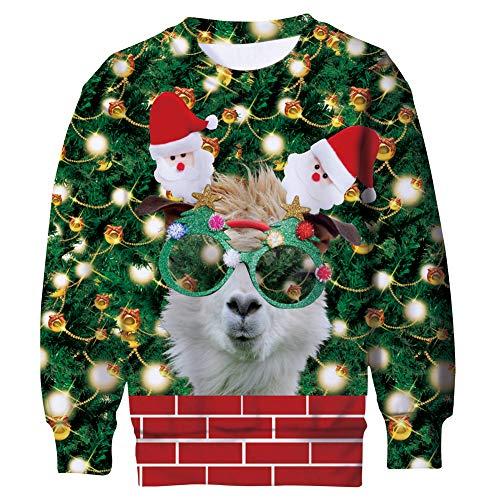 Belovecol Jersey de Navidad para niño, diseño de Navidad con impresión 3D, cuello redondo, 105-180