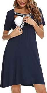 SUNNYME Camis/ón de lactancia maternidad materna de lactancia materna camis/ón de trabajo de entrega de hospital vestido de noche suave