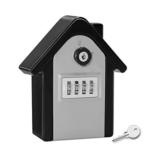 Key Storage Security Lock,V-Resourcing Wall Mounted Outdoor Combination Lock Box with Emergency Unlock,Password Recovery Design, to Share and Secure Keys for Home,Office,Garage etc