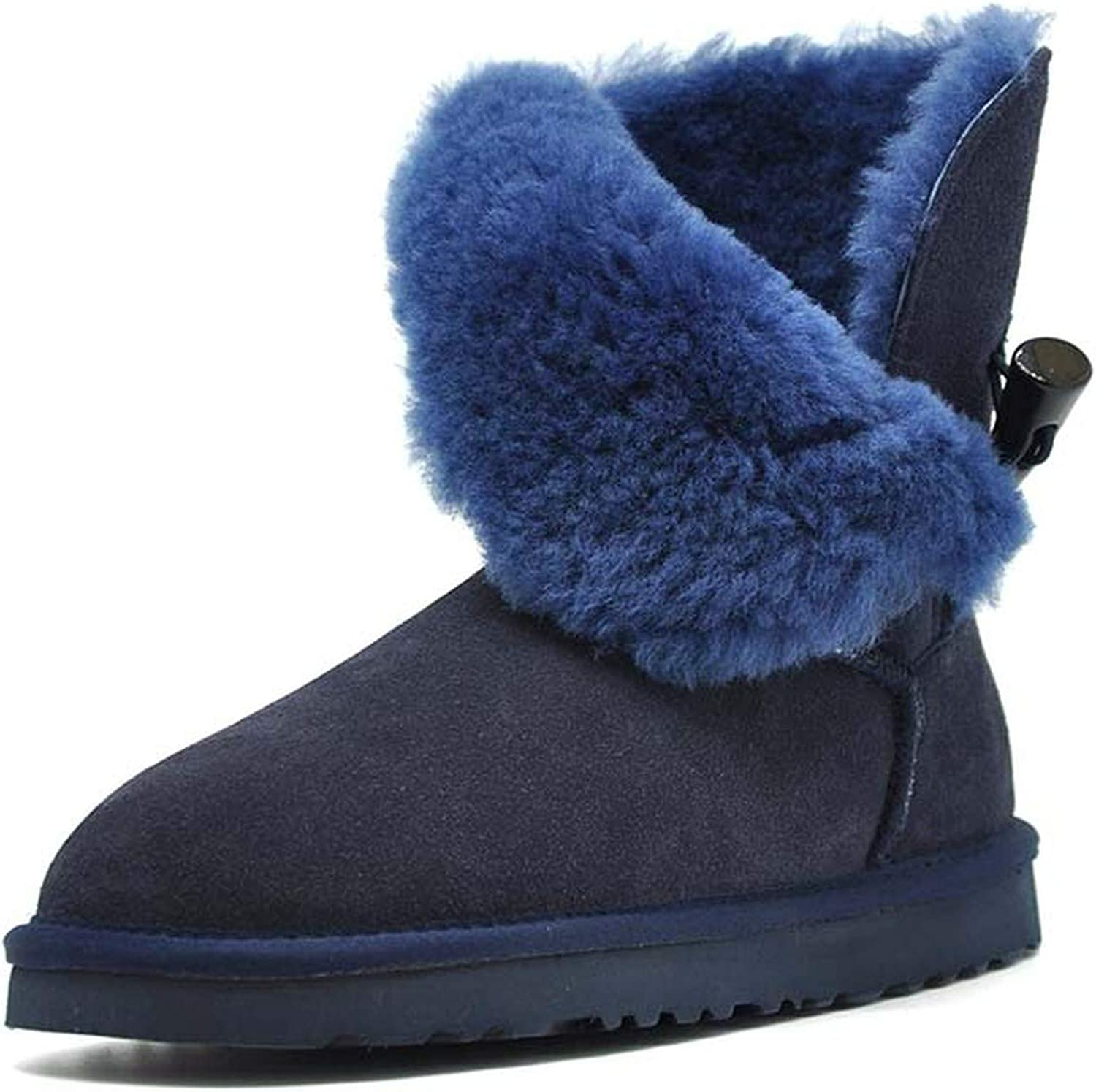 Crazy-shop 100% Real Fur Classic Waterproof Genuine Cowhide Leather Winter Snow Bootsfor Women