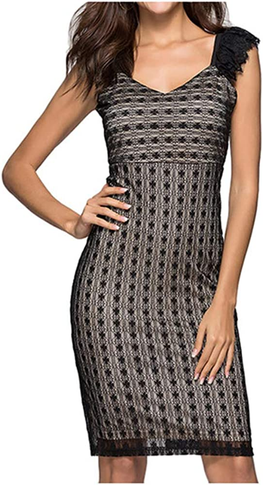 Beauty Garden Womens Contrasting Colors Dress Sleeveless V-Neck Lace Slim Mini Dress Clubwear