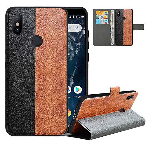 LFDZ Handyhülle für Xiaomi Mi A2 Hülle,Premium 2 in 1 Abnehmbare PU Ledertasche für Mi 6X Hülle,[RFID-Blocker] Flip Hülle Brieftasche Etui Schutzhülle für Xiaomi Mi A2/Xiaom Mi 6X Hülle,Black/Brown