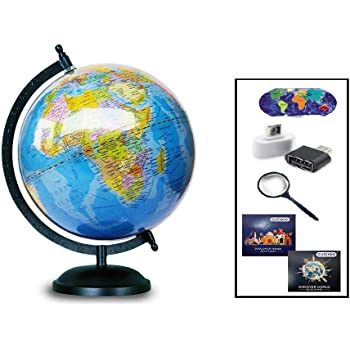 GUCHOO™ Globe|Globes Educational Political Laminated 8 inch for Students/Kids/ Office Table/ Home Decor /World Globe/Gift Item