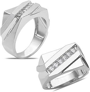 خاتم رجالي من الذهب الأبيض عيار 10 قيراط من رويال جويلز بوزن 1/4 قيراط خاتم زواج الماس