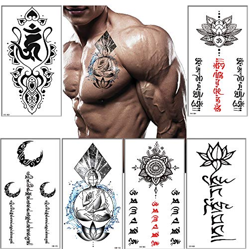 Temporary Tattoos Sanskrit Scripture tattoo Stickers for Men Women Black Large Body Art Makeup Waterproof Removable Quick Tattoos