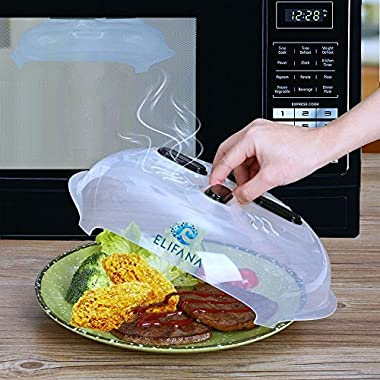 Microwave Plate Cover, Hover Cover Magnetic Splatter Guard Lid, Microwave Food Cover with Steam Vents - 11.5 Inch & Antibacterial Silicone Sponge - Both BPA Free, by ELIFANA