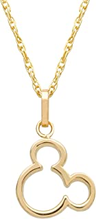 Jewelry Mickey or Minnie Mouse 14K Yellow Gold Pendant Necklace, 18