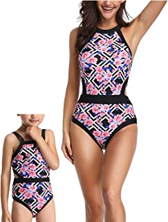 Mommy and Me Swimsuit Family Matching Mother Girl Floral One Piece Cutout Bathing Suit Swimwear Bikini Beachwear