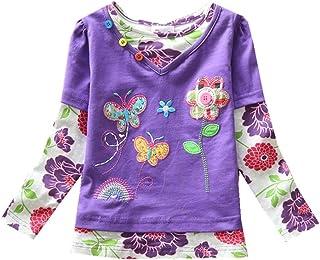 VIKITA T-Shirt Bambina Floreale Ricamo Manica Lunga Cotone Bambine e Ragazze 1-8 Anni