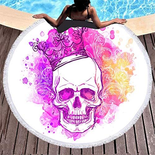 Mantas de Toalla de Playa Redondas de Microfibra con Estampado de Calavera, Manta de Playa para Nadar de Viaje de Verano, absorción de Agua con Borla