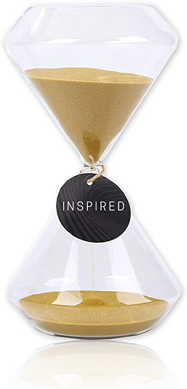 Hourglass Sand Timer Inspired Glass Home Desk Office Decor 6 Inch Gold 15 Mins