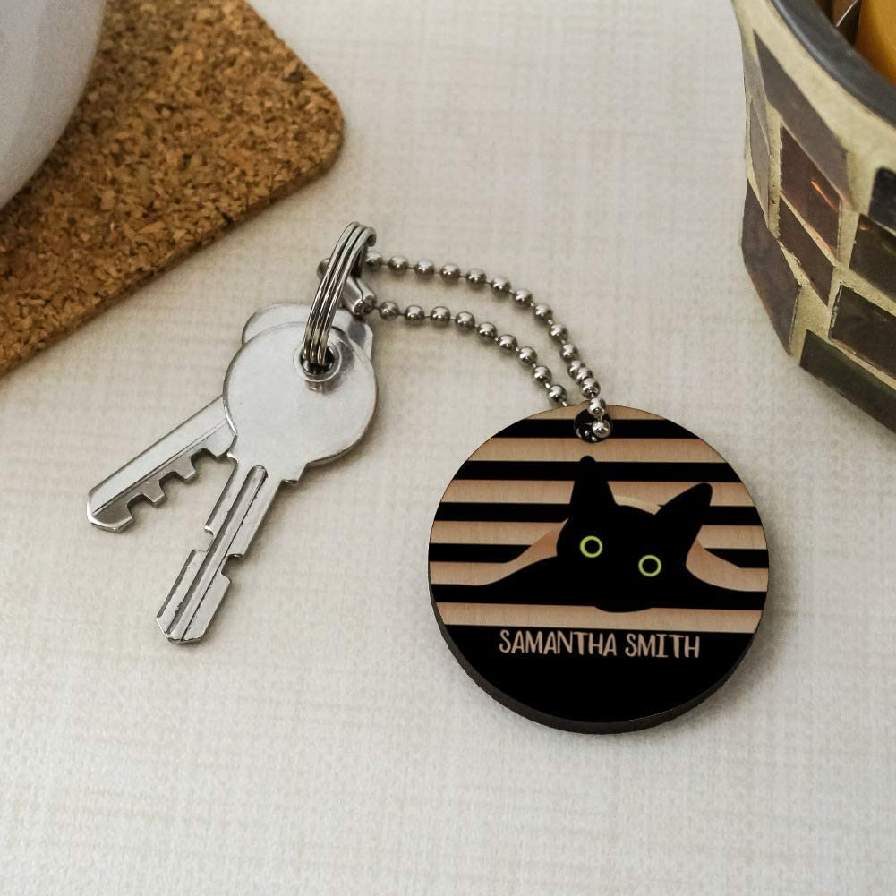 Personalized Custom Black Cat in Window 1 Line Wood Wooden Round Keychain Key Chain Ring