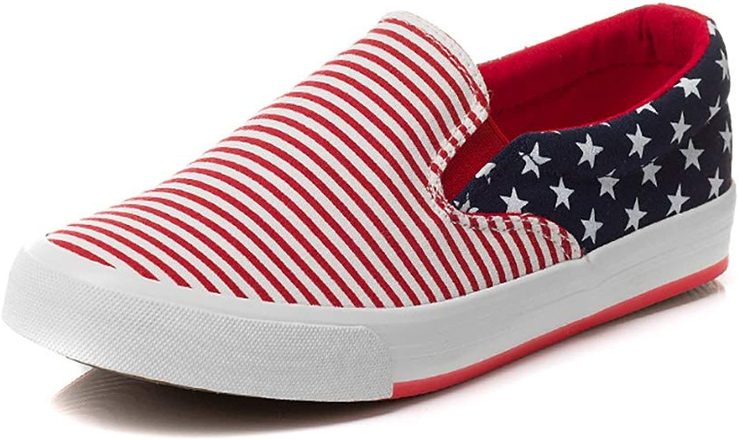 Canvas shoes Women's shoes Korean Version of The Single shoes Student Flat shoes Spring Lazy shoes Striped Casual a Pedal shoes (color   A, Size   37)