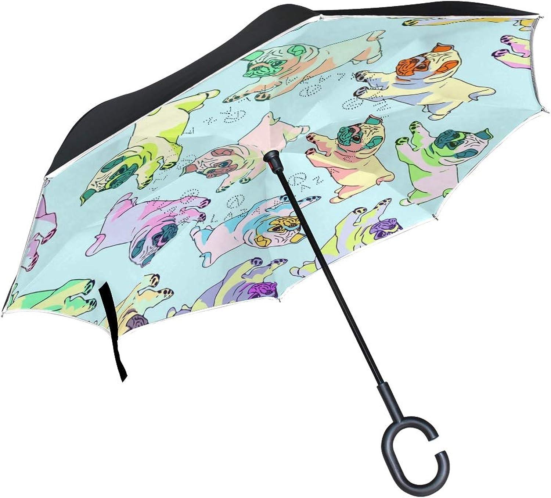 Double Layer Pop Art Pugs Ingreened Umbrellas Reverse Folding Umbrella for Car, DKRetro CShaped Handle Umbrella with Light Reflection Strip