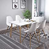 FREDEES Dining Table and Chairs Set of 4, Solid Wooden Table with Metal Legs and 4 White Chairs, Dining Room Furniture Set for Home, Office, Kitchen, Balcony, Garden
