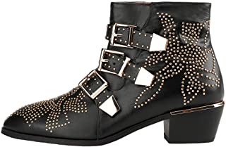 bashafanni Ankle Boots Womens Genunie Leather Boot Rivet Studded Buckle Strap Designer Booties Low Heel Bootie Shoes