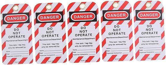 H HILABEE 5 stuks Security Lockout tagout dag NIET BETRENDEN Waarschuwing Opmerking: kaartetiket wie beschrieben B