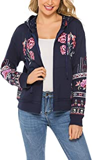Women's Full Zip Long Sleeve Sweatshirt Floral Embroidery Mexican Tops Fall Winter Hoodie Coats Hooded Jacket