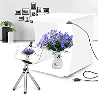 Duo Lu Tong Mini Photo Studio Box, Portable Shooting Tent Box,Small and Compact White Bright Led Light Box with 20 LED Lights + 6 Backdrops for Product Display (24x23x22cm) …