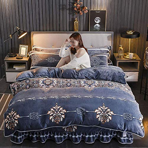 Bedding Set King Size Luxury, Double Bed Duvet Covers Floral, Bedding Set Winter Double Duvet Cover Set Double Bed Quilt Cover Sets Flat Sheet Soft Warm Flannel Twin King Double Size ZQHSB