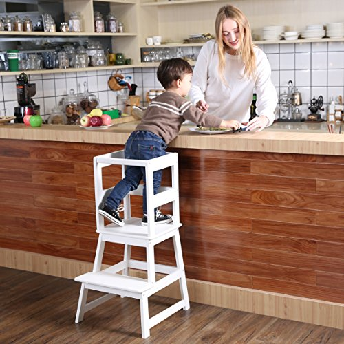 SDADI Kids Kitchen Step Stool with Safety Rail for Toddlers 18 Months and Older White LT01W