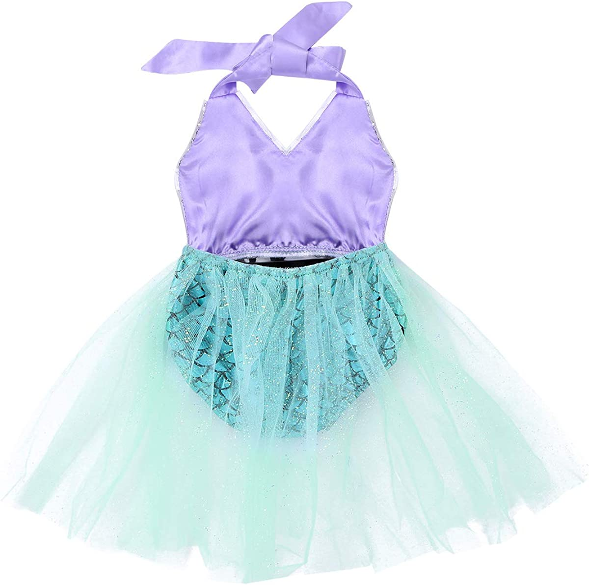 YiZYiF Mermaid Baby Girl Sequins Shiny Scale Stretchy Tutu Skirted Romper Jumpsuit for Dress up or Swimming