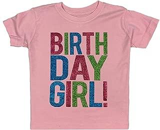 Birthday Girl Toddler Kids Glitter T-Shirt