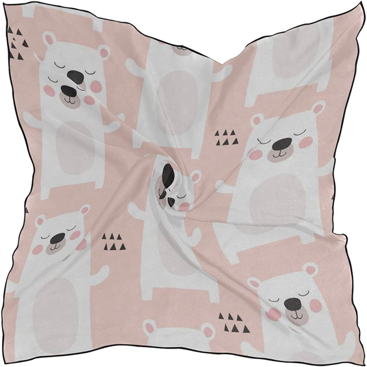 Soft Polyester Silk Ladies Scarves Fashion Print Cute Big Polar Bear Hand Drawn Women Neck Scarf Ladies Scarf Girl Scarves Multiple Ways Of Wearing Daily Decor