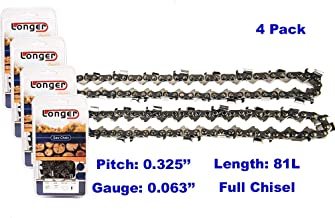20 Inch 0.325'' Pitch 0.063'' Gauge Full Chisel Chainsaw Chain 81 Links (4PCS)