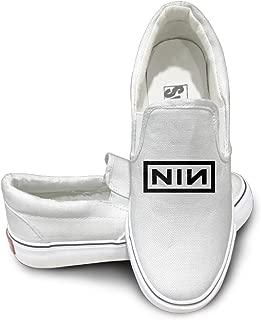 Deamoon Nine Inch Nailse Slip-on Unisex Flat Canvas Shoes Sneaker White