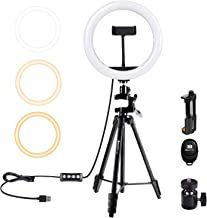 """Geekoto 10"""" Ring Light with Tripod Stand:Bluetooth Remote Shutter with Phone Holder for Makeup/Video/Camera/Selfie Photogr..."""