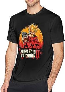 Camiseta de algodón de Manga Corta para Hombre Anime Trigun The Gunslinger Camisa de Manga Corta Estampada en 3D de Moda
