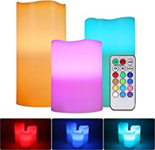Flameless LED Candles, ALED LIGHT Pack of 3 RGB Multicolored Electric Candles Real Wax Lights Candles Electric Batteries w...