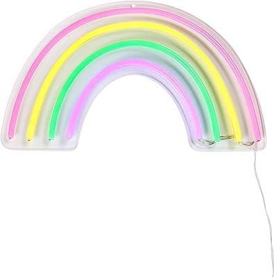 Lights4fun Enseigne Lumineuse Arc-en-Ciel Néon à LED Multicolores pour Intérieur