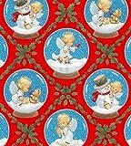 Fat Quarter Weihnachten Cherubs Engel und Schneemänner rot