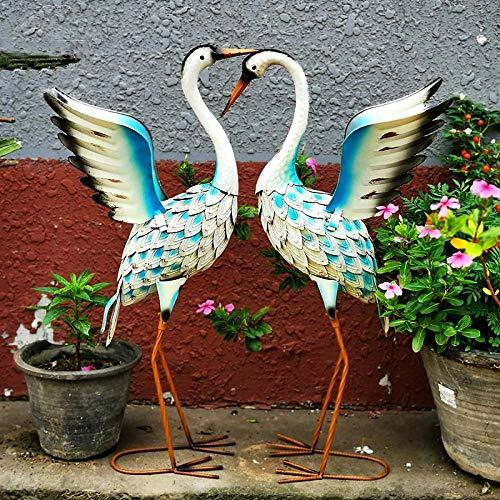 LIUSHI 2 X Garden Lawn Statues Heron Ornaments Metal Crane Sculpture Yard Art Outdoor for Lawn Decor