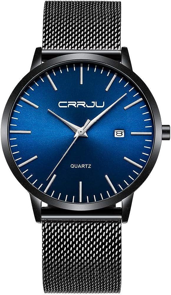 CRRJU Men's Watches Ultra sale Thin Elegent Men Be super welcome Wristwatches Fashion