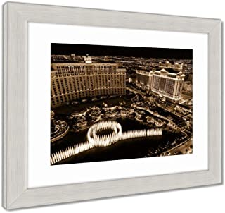 Ashley Framed Prints Fountains and Hotels on Las Vegas Strip at Night, Wall Art Home Decoration, Sepia, 34x40 (Frame Size), Silver Frame, AG32878865