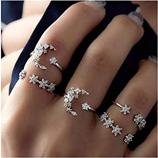 Vintage Women Mid Knuckle Rings Set Exaggerated Openwork Carved Large gem Lotus Shape 10 Pcs
