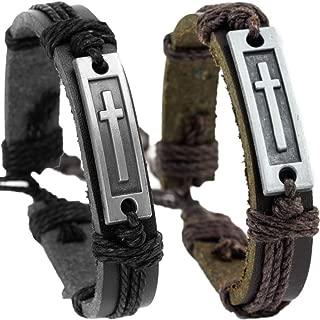 leather cross bracelet
