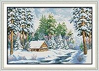 Joy Sunday クロスステッチキット 14CT 刻印入り刺繍キット 正確なプリント刺繍 - Snow world 50×35cm