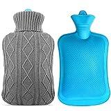 Mture Borsa dell'acqua calda, 2,0 litri Caldo Bottiglia D'acqua con Giacca a maglia, Grigio