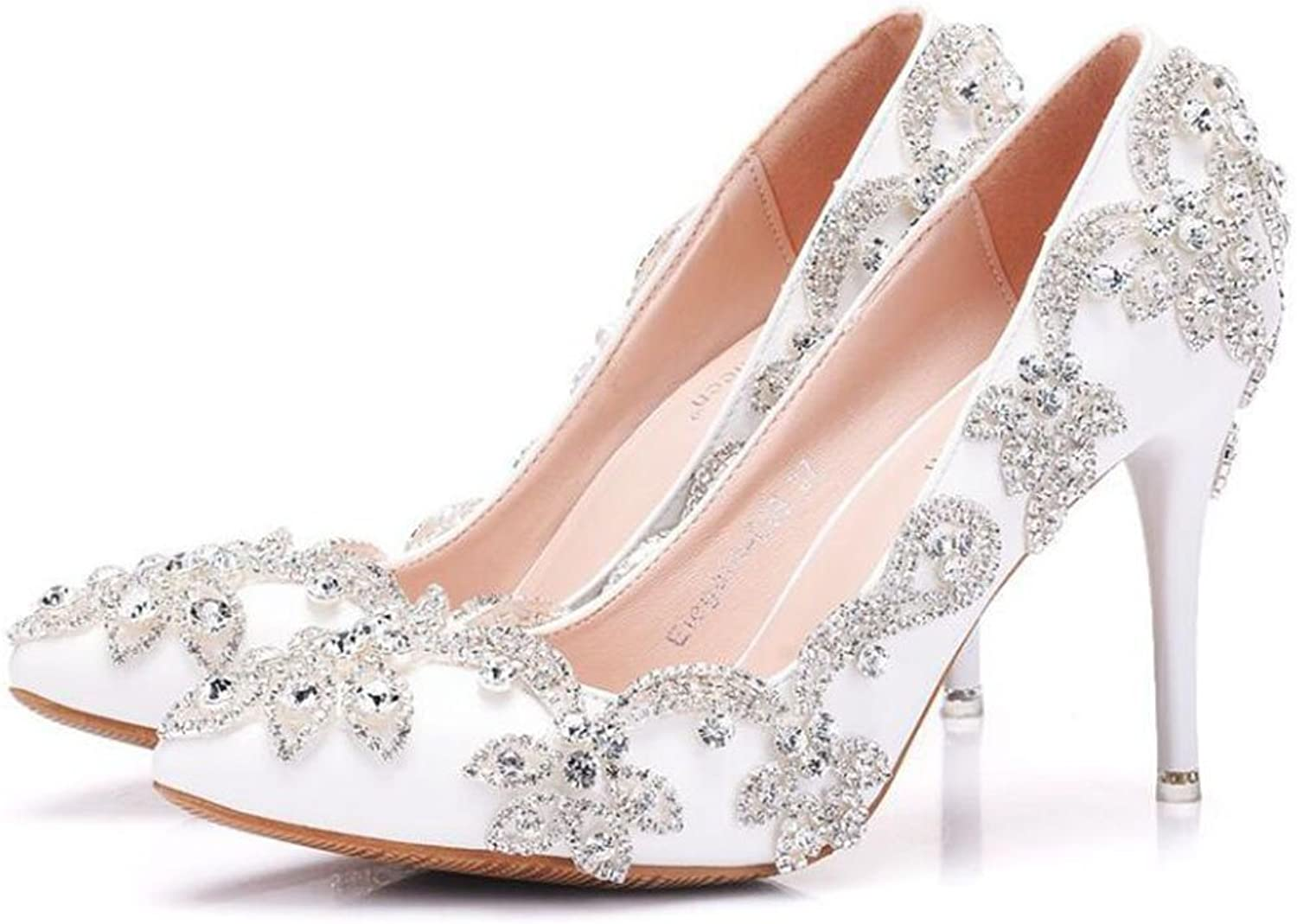 FLYSXP Large Size Rhinestone High Heel Women's Fine with Pointed Single shoes Wedding shoes Female Dinner Dress shoes 34-42 Yards Women's shoes (color   White, Size   35)