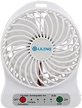 Mini Portable White Usb/li-ion Battery Rechargeable Powered Palm Leaf Fan 3 Gear Speed