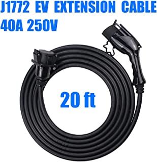 Morec J1772 Extension Cable, 40Amp 20ft EV Extension Cord for EV Charging Stations